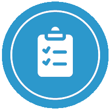 Icon of a blue white clipboard
